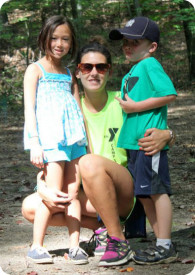 Counselor and campers